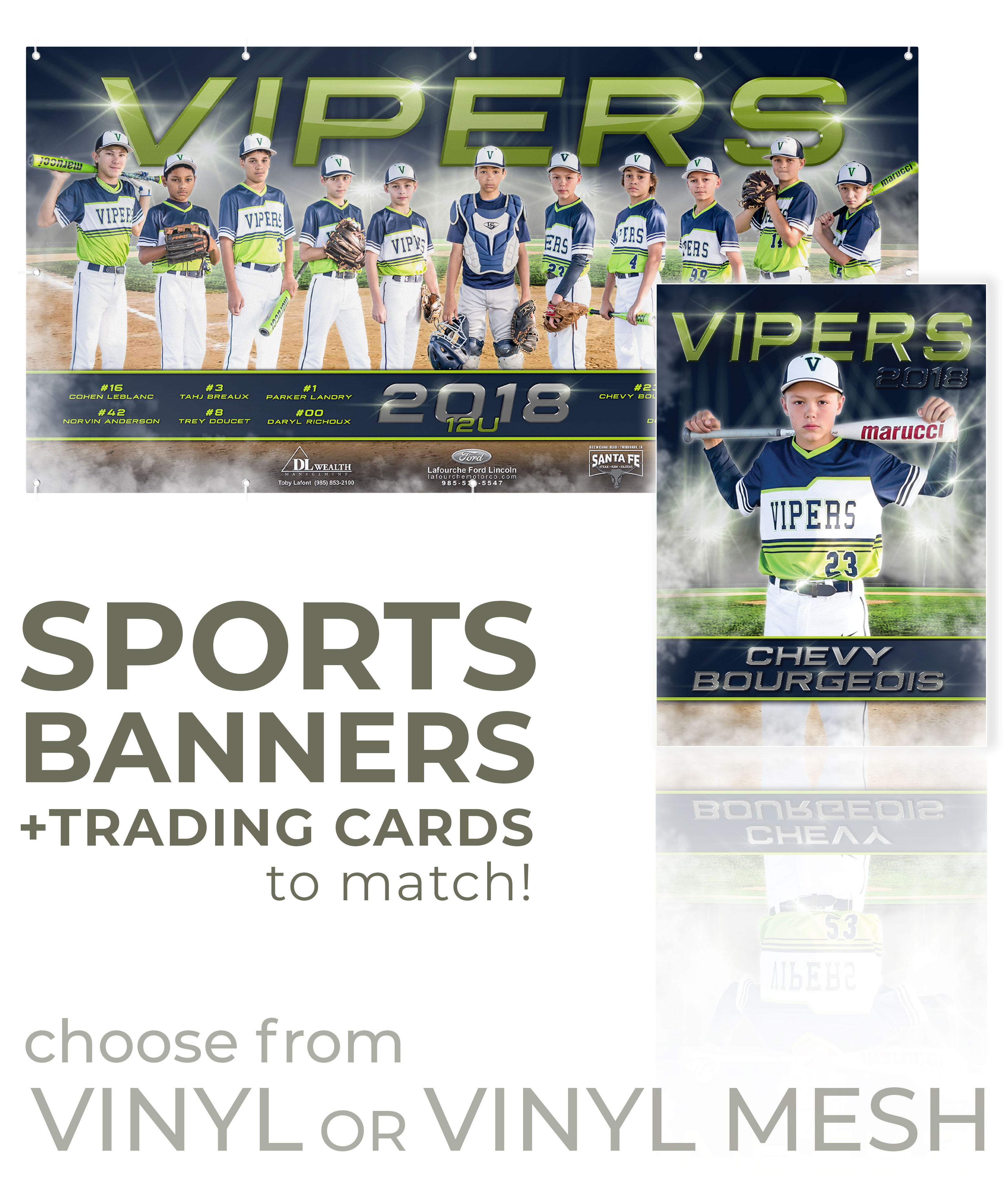 Sports Banners + Trading Cards | Jenn's Art Company