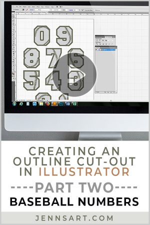 Creating an Outline Cut-Out in Illustrator - Part 2 (Baseball Numbers) | Jenn's Art Co