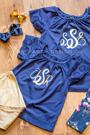 INITIALS [Printed] on Girls' Eyelet Short Sleeve T-Shirt